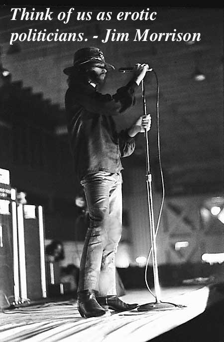 Jim Morrison performing in the 1969 Miami concert where he was arrested for lewd behavior. Mr. Mojo Risin and other stories of Rock, Radio, and Regulations. Marchmatron.com