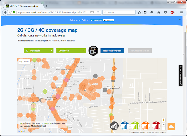 Coverage Map Cellular data networks in Indonesia