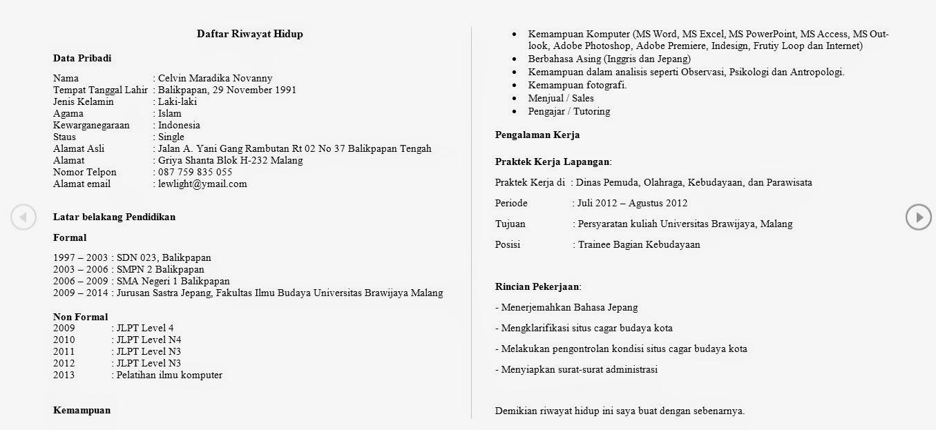 Curriculum Vitae Daftar Riwayat Hidup Versi Danshi Danshi No