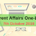 Current Affairs One-Liner: 7th October 2019