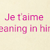 je t'aime meaning and reply in hindi translation