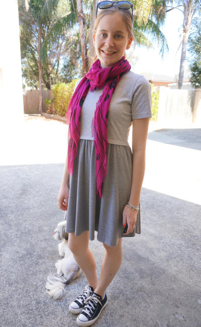 away from blue asos grey colour block skater dress converse skull scarf