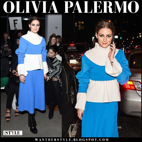 Olivia Palermo in blue convertible midi dress prabal gurung and black boots prada vitello fashion week february 11