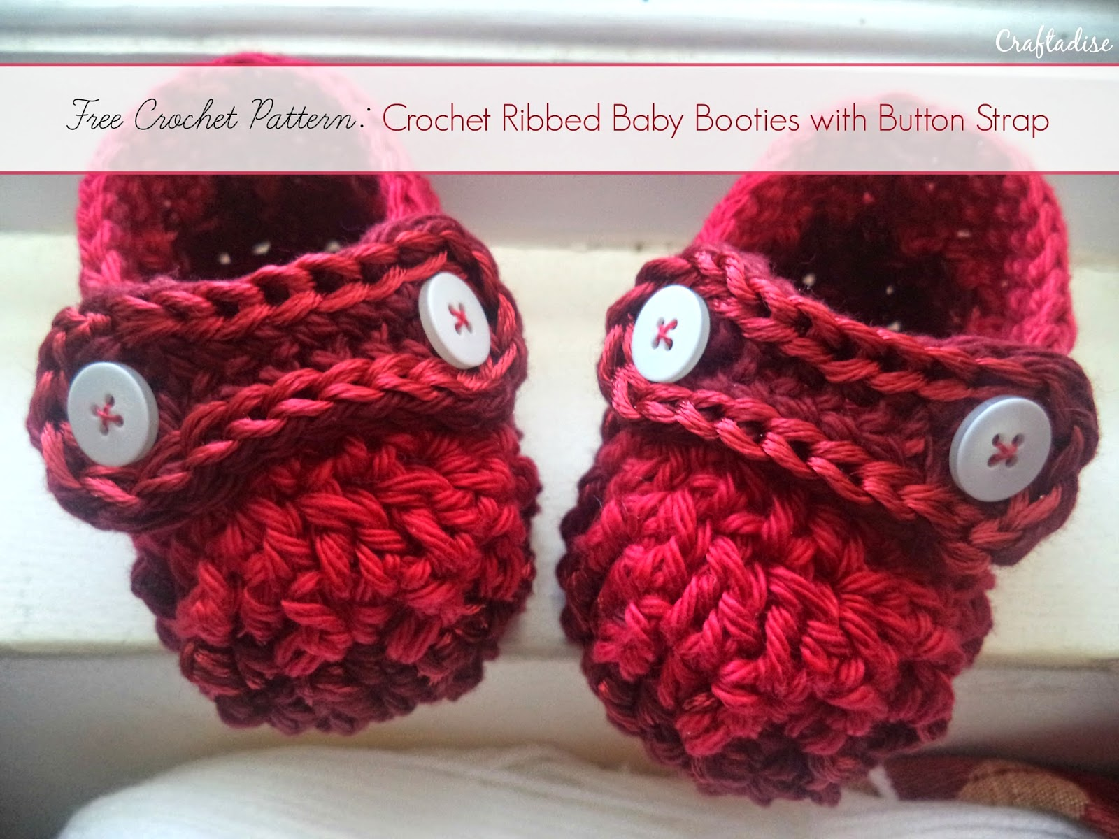 crochet ribbed baby booties free pattern