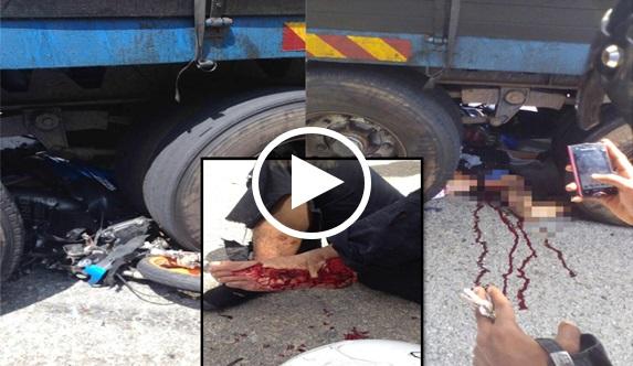 Video Maut Di Seret Lori Selepas Terjatuh Dari Motosikal Yang Diboncengnya Dalam Kejadian Di Kilometer 17 Jalan Johor Bahru-Kota Tinggi