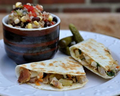 Chicken Veggie Quesadillas, quick homemade healthy quesadillas with chicken, veggies and cheese. Low carb & Weight Watchers PointsPlus 5.