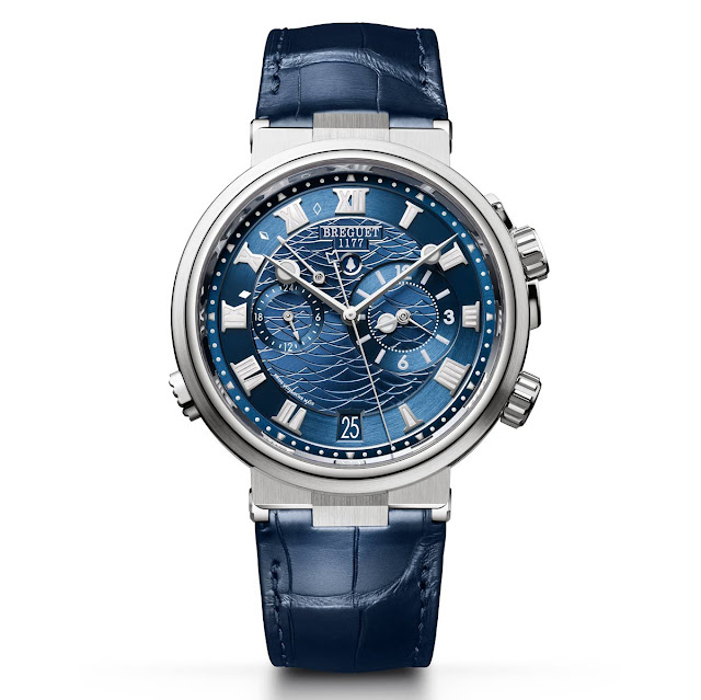 The white gold version of the Breguet Marine Alarme Musicale 5547