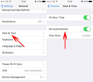 iMessage Problems set time date auto