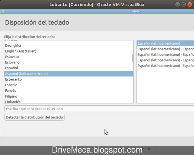 Elegimos nuestra distribucion de teclado para Lubuntu