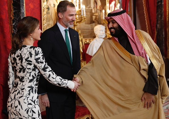 Crown Prince Muhammed bin Salman of Saudi Arabia in Spain. Queen Letizia wore Felipe Varela dress and wearing Tous Jewelry earrings, Magrit pumps