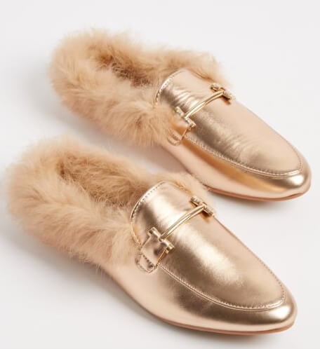 rue21 Rose Gold Fur Lined Faux Leather Mule By Yoki