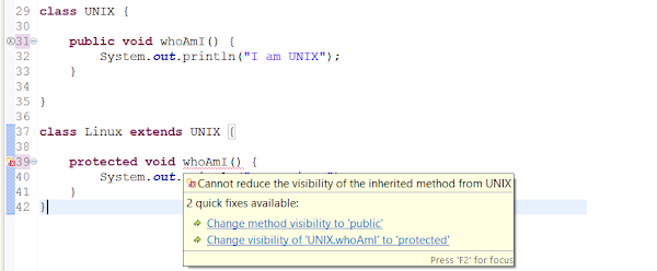 You cannot reduce the visibility of the inherited method in Java