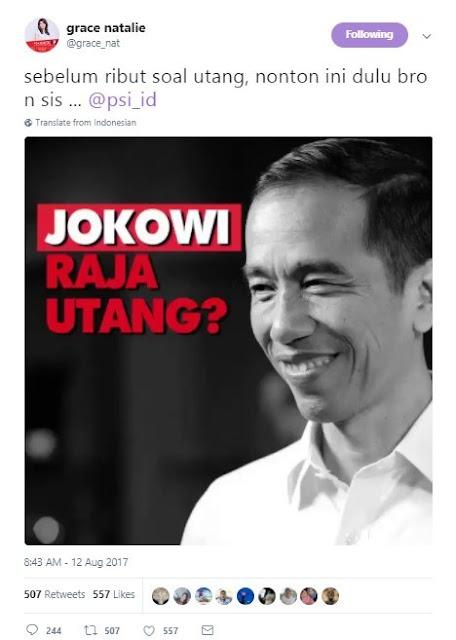 ss grace - Coba Bela Jokowi Soal Hutang, Grace Natalie Terbungkam 'Dihajar' Netizen