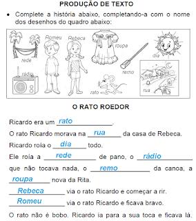 Produção de texto O RATO ROEDOR com sugestão de resposta