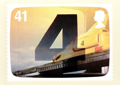 PHQ postcard showing stamp representing Thunderbird 4