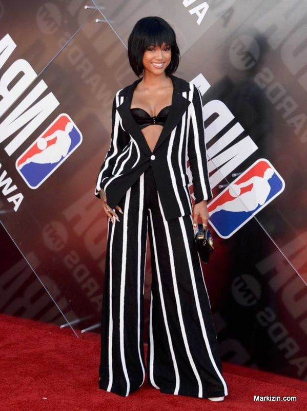 Karrueche Tran In Black N White Outfit NBA Awards