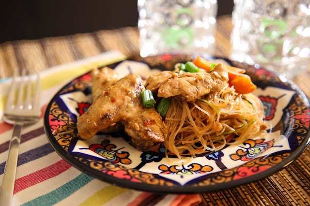 Chicken Wings and Rice Noodles
