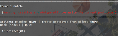 Found 1 match.   (Warning: creating a prototype will overwrite the current prototype!) ____________________________________________________________________________________  Actions: examine <num> | create prototype from object <num> Back (index) | Quit   1: Griatch(#1)
