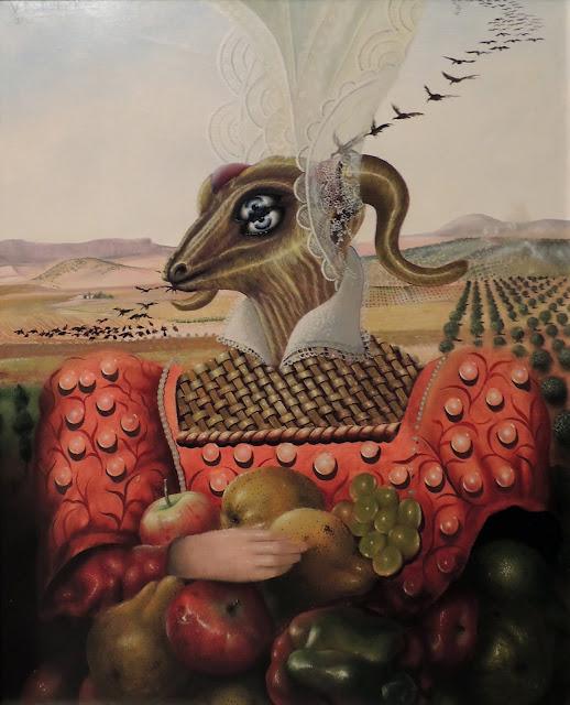 Julio Visquerra arte surrealista retrato cabeza de animal pájaros volando paisaje