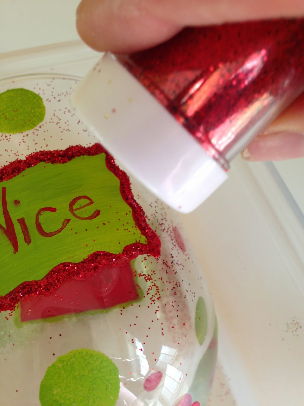 Glitter on Hand Painted Glass