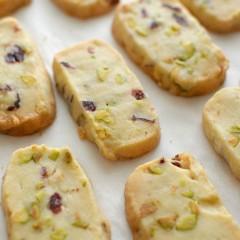 Receta para preparar galletas de mantequilla con pistachos cranberries