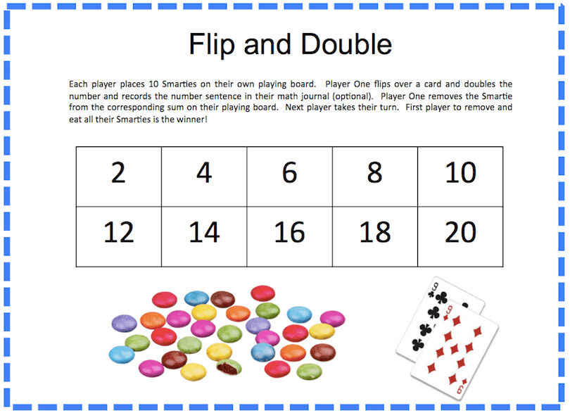 Flip and Double Math Game for Grade 1 by Grade ONEderful. This super fun game involves eating Smarties!