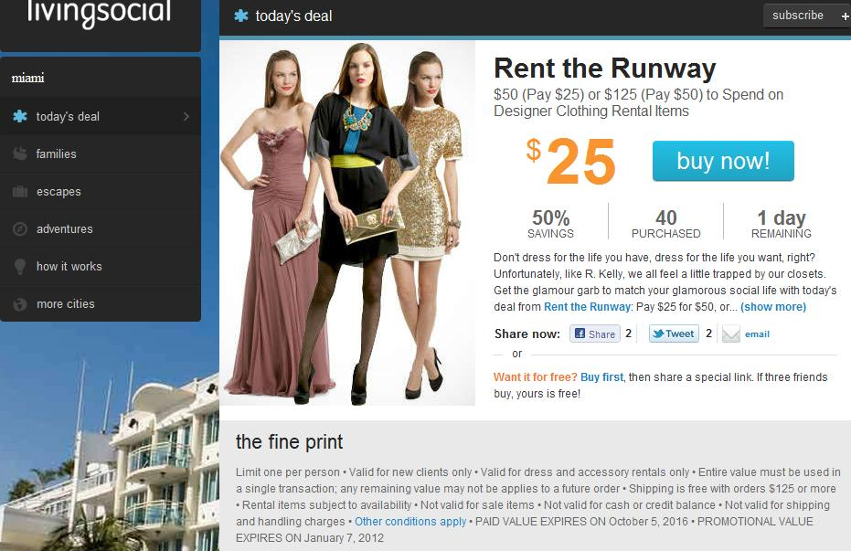 47b130a00c3 Living Social Deal for Rent the Runway Designer Wear