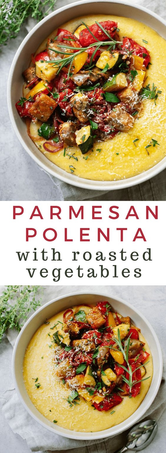 PARMESAN POLENTA WITH ROASTED VEGETABLES #parmesan #polenta #roasted #vegetables #vegetarian #vegetarianrecipes #vegetariandinnerrecipes #veggies vegan #veganrecipes Desserts, Healthy Food, Easy Recipes, Dinner, Lauch, Delicious, Easy, Holidays Recipe, Special Diet, World Cuisine, Cake, Grill, Appetizers, Healthy Recipes, Drinks, Cooking Method, Italian Recipes, Meat, Vegan Recipes, Cookies, Pasta Recipes, Fruit, Salad, Soup Appetizers, Non Alcoholic Drinks, Meal Planning, Vegetables, Soup, Pastry, Chocolate, Dairy, Alcoholic Drinks, Bulgur Salad, Baking, Snacks, Beef Recipes, Meat Appetizers, Mexican Recipes, Bread, Asian Recipes, Seafood Appetizers, Muffins, Breakfast And Brunch, Condiments, Cupcakes, Cheese, Chicken Recipes, Pie, Coffee, No Bake Desserts, Healthy Snacks, Seafood, Grain, Lunches Dinners, Mexican, Quick Bread, Liquor