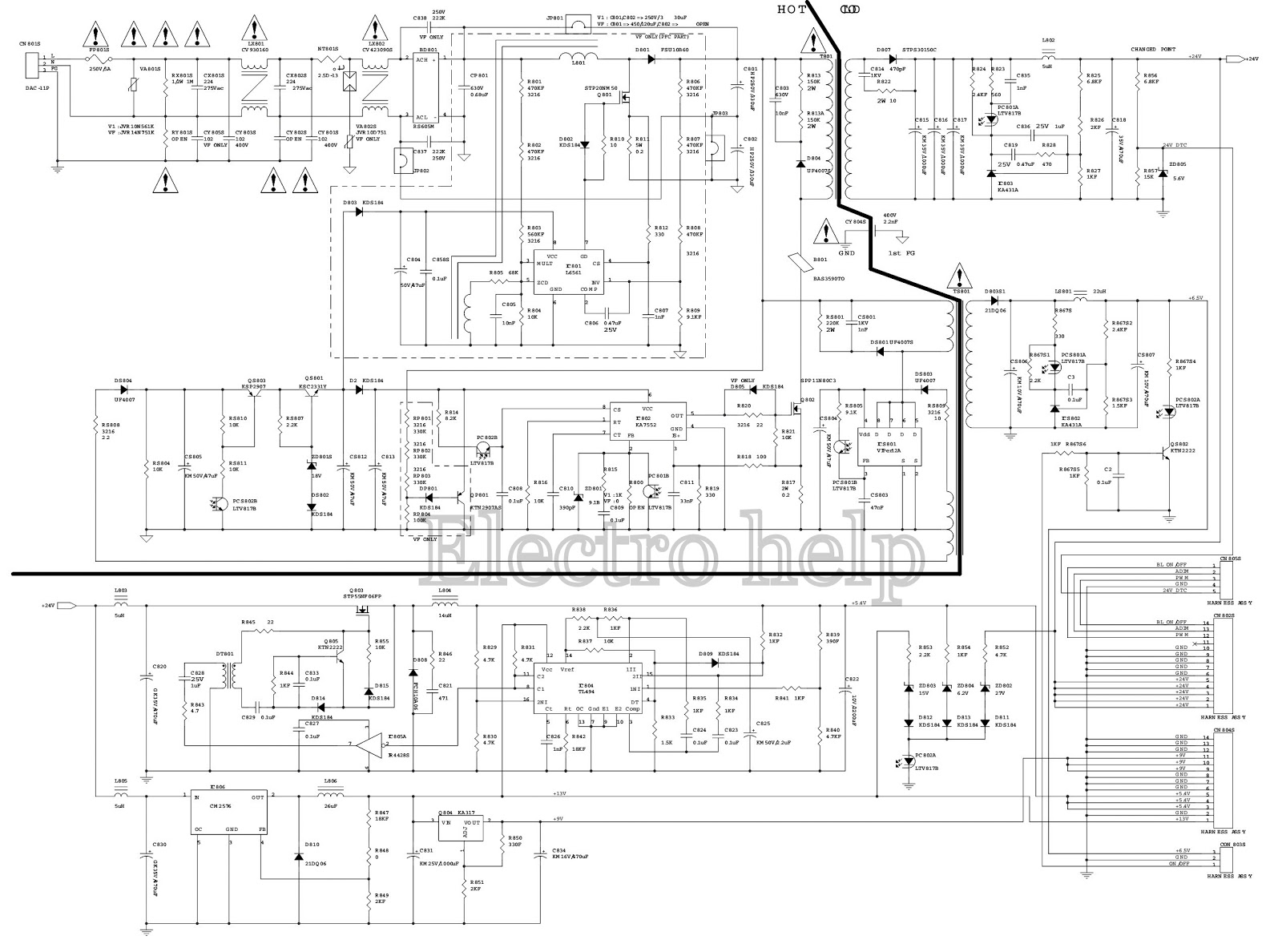philips tv circuit diagram how to repair led tv backlight problem no picture [ 1600 x 1188 Pixel ]