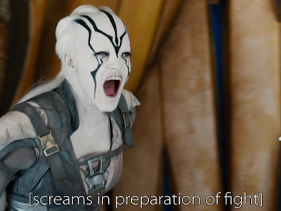Jaylah from Star Trek Beyond yelling in preparation of a fight.