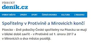 V Protivíně ukončí provoz Česká spořitelna
