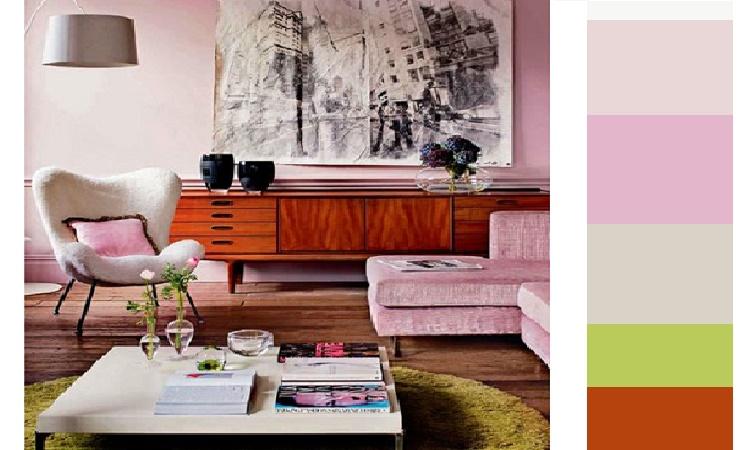 decoração de sala em paleta rosa
