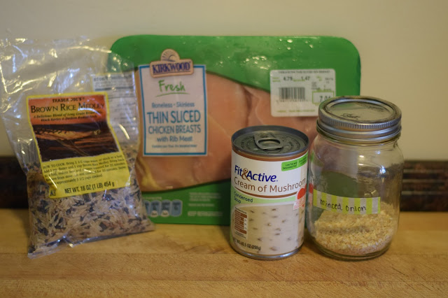 The ingredients needed to make the Crockpot Chicken and Rice.
