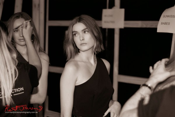 Models backstage waiting to walk for Watson x Watson, MBFWA. Photograph by Kent Johnson.