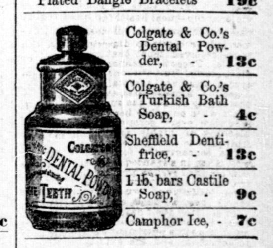 Colgate Dental Powder advertisement 1891