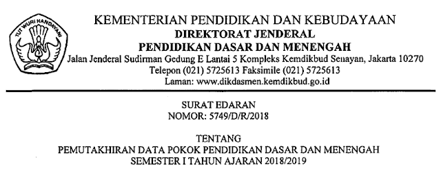 Pemutakhiran Data Pendidikan Semester I Tahun 2018/2019