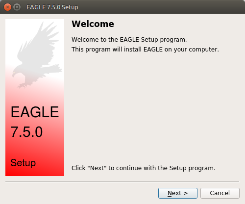 EAGLE Setup initial window