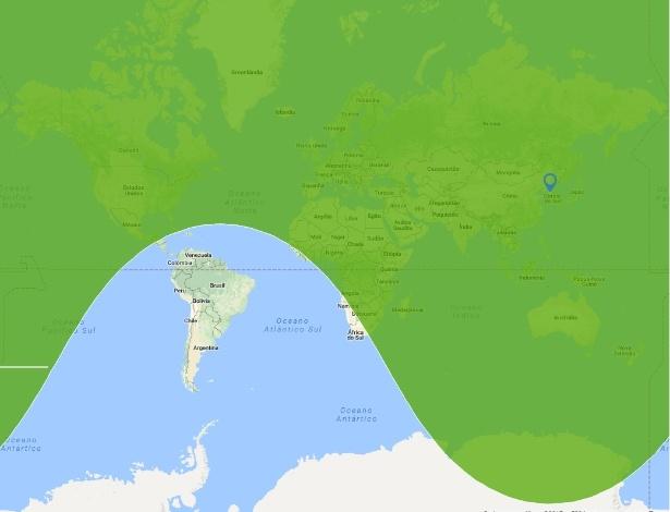 Mapa mostra o alcance estimado do míssil Hwasong-15, testado pela Coreia do Norte; apenas a América do Sul está fora da 'zona de risco'.