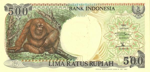 500 rupiah 1992 depan
