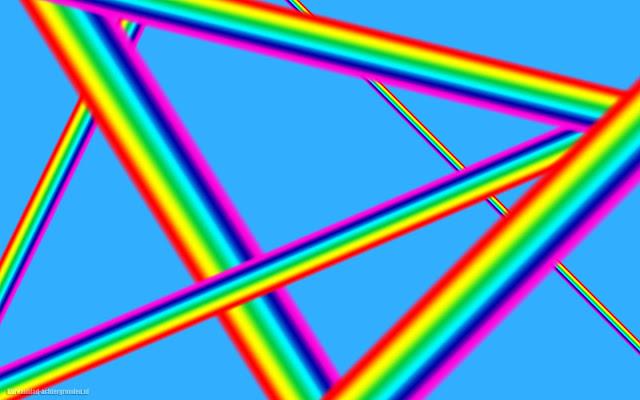 Blauwe achtergrond abstract met lijnen in regenboogkleuren