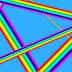 Blauwe achtergrond met lijnen in regenboogkleuren