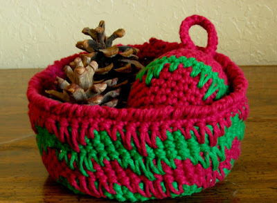 Burgundy Red and Emerald Green Basket Handmade by RSS Designs In Fiber