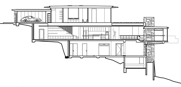 Section drawing of a three story house