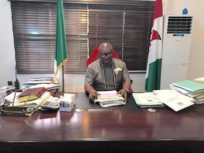 Abia state:, Dr Okezie Ikpeazu resumed office today.