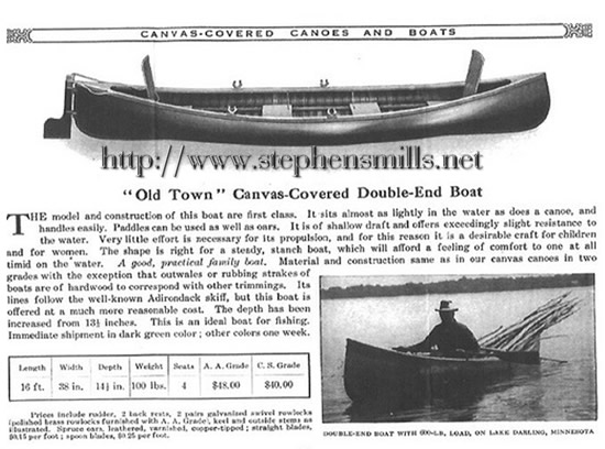 Advertisement for George Emmons Old Town Canoe