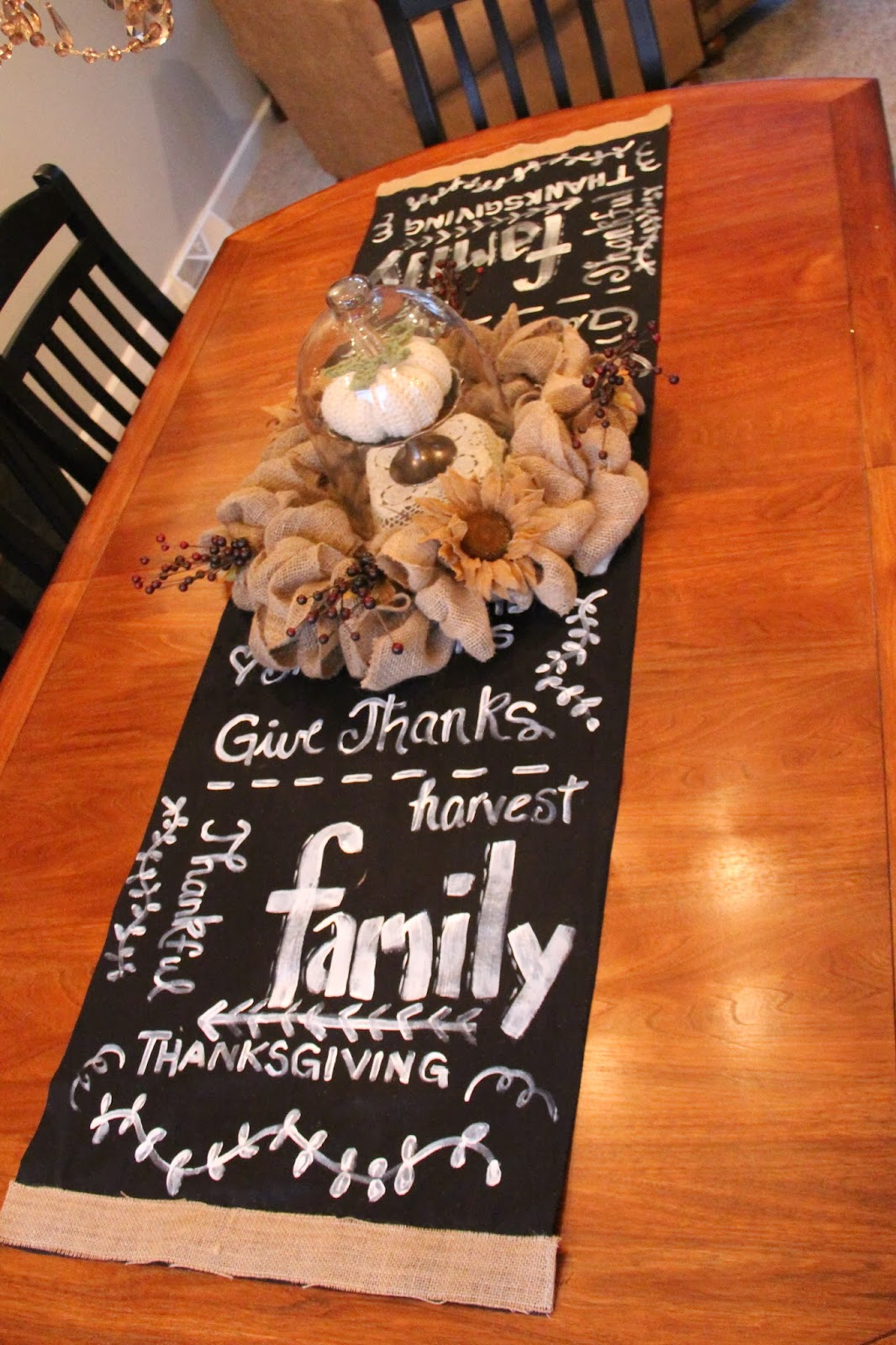 Faux Chalkboard Table Runner And Burlap Centerpiece