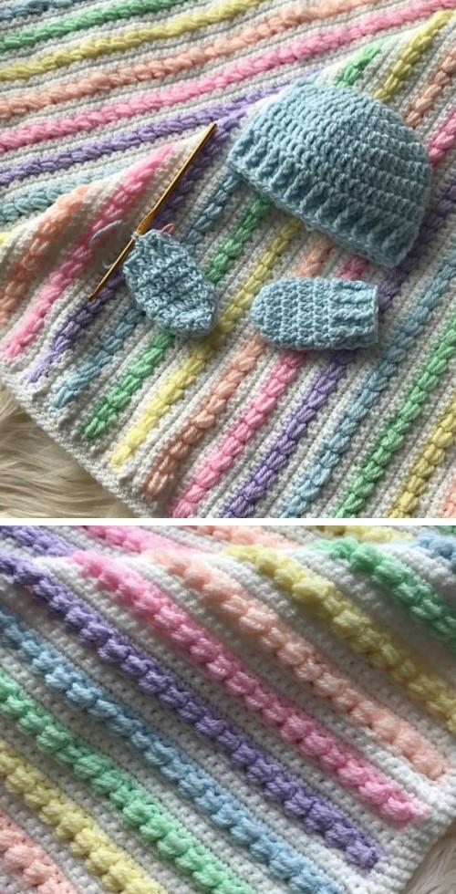 Rainbow Puff Baby Blanket - Free Pattern