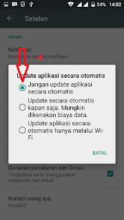 pengaturan cara non aktifkan update otomatis