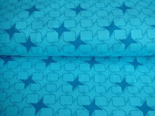 bavlnený úplet tzrkysový s potlačou hviezd