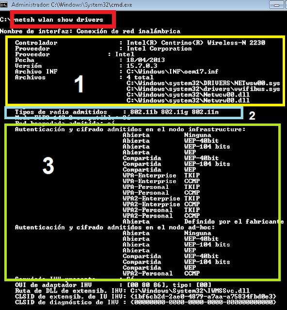 Windows: WiFi ver características adaptador